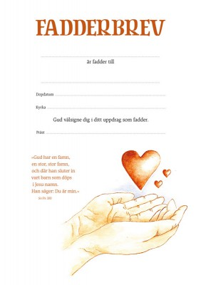 Fadderbrev – hjärta i hand 1