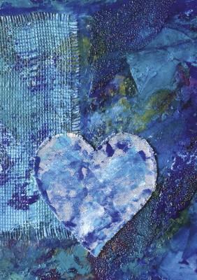Spiralblock – blått hjärta 1