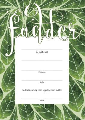 Fadderbrev – löv pastor