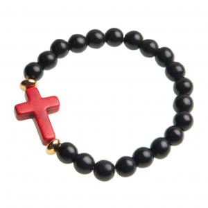 Armband kula – kors (svart/röd)