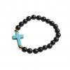 Armband kula – kors (svart/turkos)
