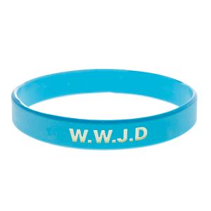 Armband silikon, WWJD ljusblå