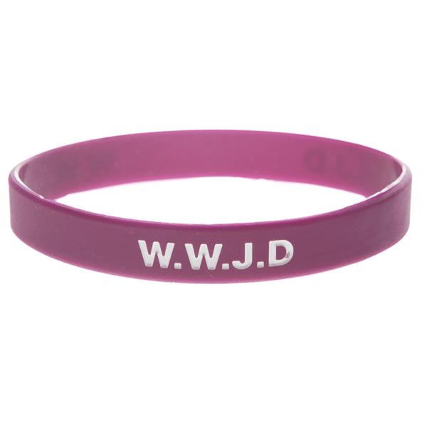 Armband silikon, WWJD plommon