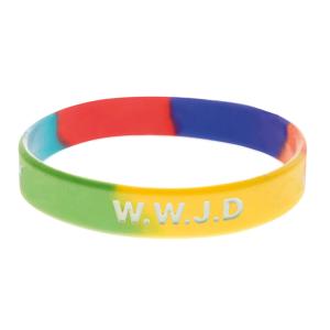 Armband silikon, WWJD regnbåge