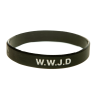 Armband silikon, WWJD svart