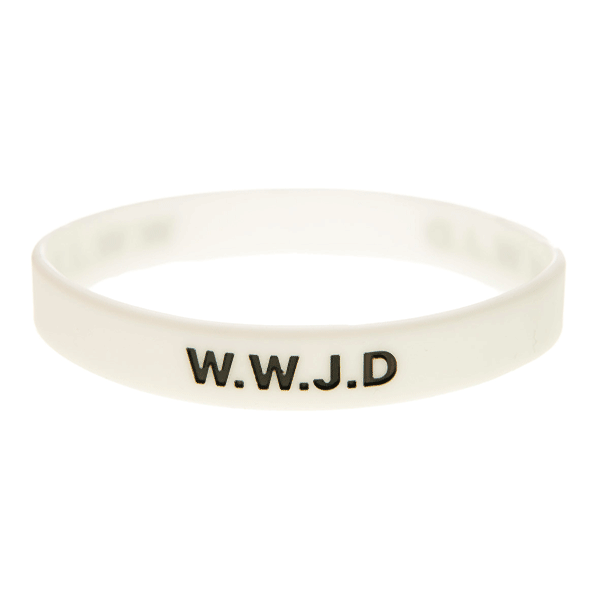 Armband silikon, WWJD vit