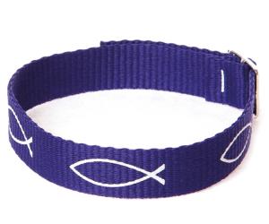 Armband vävt tyg – fisk (lila)