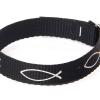 Armband vävt tyg – fisk (svart)