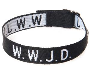 Armband med texten WWJD i svart vävt tyg
