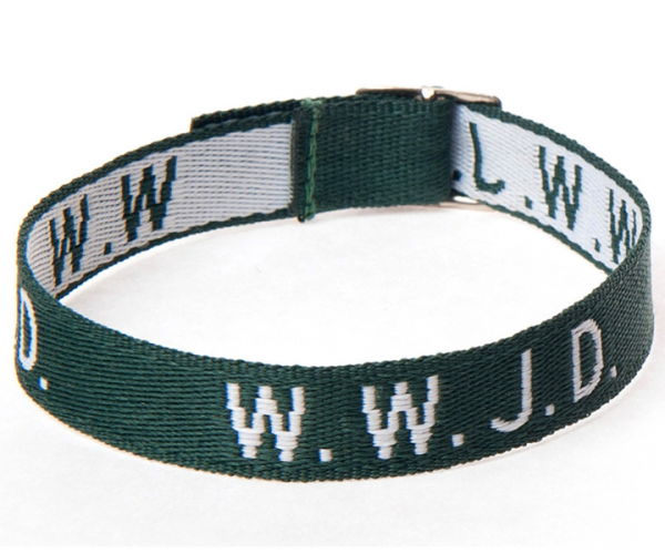 Armband WWJD i mörkgrönt vävt tyg