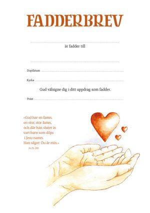 Fadderbrev – hjärta i hand